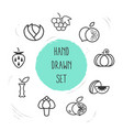 set of berry icons line style symbols with cabbage vector image