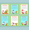 six merry christmas and happy new year banners vector image vector image