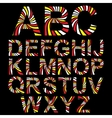 striped alphabet set vector image