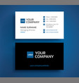 stylish business card template - minimalist blue vector image vector image