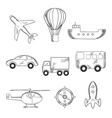 Travel and transport sketch icons vector image vector image