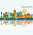 wellington skyline with color buildings blue sky vector image vector image