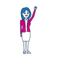 woman politician standing throws up his hand vector image vector image