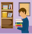 young man studying with books vector image vector image