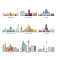 World Famous Cityscapes Flat Icons Collection vector image