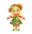 a cute cartoon farm scarecrow girl vector image