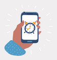 alarm clock on smartphone screen vector image