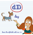 alphabet worksheet of the letter d vector image