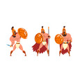 ancient warrior character in armour fighting with vector image vector image