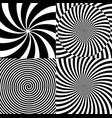 black and white hypnotic psychedelic spiral with vector image