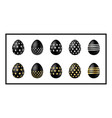 black easter eggs icons vector image vector image