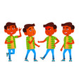 boy schoolboy kid poses set indian hindu vector image vector image