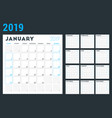 calendar planner for 2019 year week starts on vector image vector image
