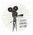 camera vintage label hand drawn sketch grunge vector image