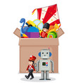 cardboard box full toys on white background vector image vector image