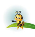 Cartoon bee sitting on a leaf