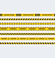 caution tape set do not enter yellow ribbon vector image vector image