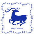 christmas card with snowflakes and deer vector image vector image