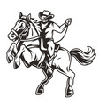 cowboy riding horse vintage concept vector image