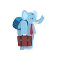 cute elephant animal cartoon character traveling vector image