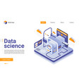 data science isometric landing page vector image vector image