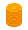 dollar coin stack icon isometric style vector image