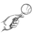 engraved hand holding magnifying glass retro hand vector image vector image