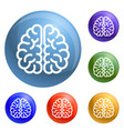 genius brain icons set vector image