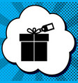 gift sign with tag black icon in bubble vector image vector image