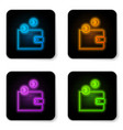 glowing neon cryptocurrency wallet icon isolated vector image