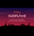 happy halloween background on the grave vector image vector image