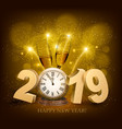 happy new year background with 2019 a clock and vector image
