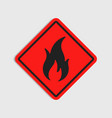 hazard warning sign flammeble fire in red vector image