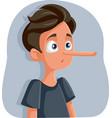 liar teenage boy with long nose cartoon vector image