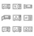 microwave icons set outline style vector image vector image