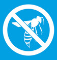 no wasp sign icon white vector image vector image