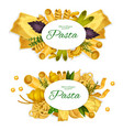 pasta spaghetti ravioli and lasagna vector image vector image
