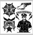 police set - design elements badge vector image vector image