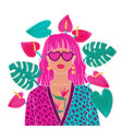 portrait a pink hair woman in urban jungle vector image