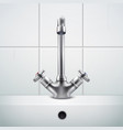 realistic sink faucet composition vector image vector image