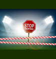road sign with stop doping vector image vector image