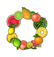 round frame of tropical fruits with empty place vector image vector image