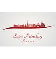 Saint Petersburg skyline in red vector image vector image