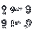 Set of black and white number nine logo templates vector image vector image