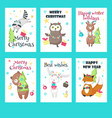 set of christmas cards with cute animals vector image vector image