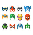 set super hero masks in flat style vector image vector image