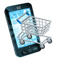 shopping cart cell phone vector image vector image