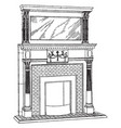 small brickwork mantel fireplace vintage engraving vector image vector image