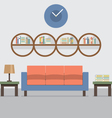 Sofa With Modern Bookcase vector image vector image