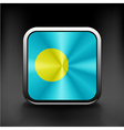 Square icon with flag of palau with reflection vector image vector image